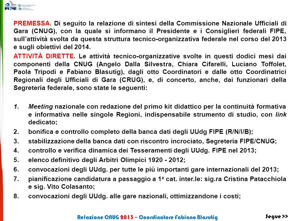 PREMESSA. Di seguito la relazione di sintesi della Commissione Nazionale Ufficiali di Gara (CNUG), con la quale si informano il Presidente e i Consigl