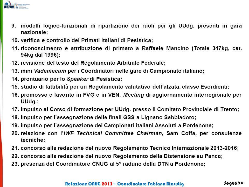 9.modelli logico-funzionali di ripartizione dei ruoli per gli UUdg. presenti in gara nazionale; 10.verifica e controllo dei Primati italiani di Pesist