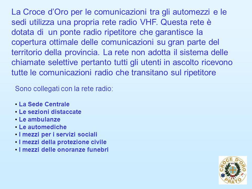 La Croce d'Oro per le comunicazioni tra gli automezzi e le sedi utilizza una propria rete radio VHF.