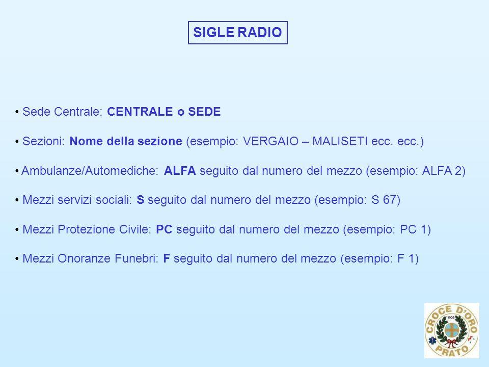 SIGLE RADIO Sede Centrale: CENTRALE o SEDE Sezioni: Nome della sezione (esempio: VERGAIO – MALISETI ecc.