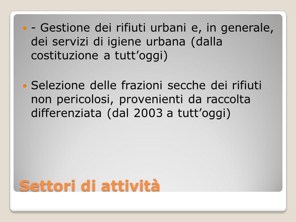 Settori di attività - Gestione dei rifiuti urbani e, in generale, dei servizi di igiene urbana (dalla costituzione a tutt'oggi) Selezione delle frazio
