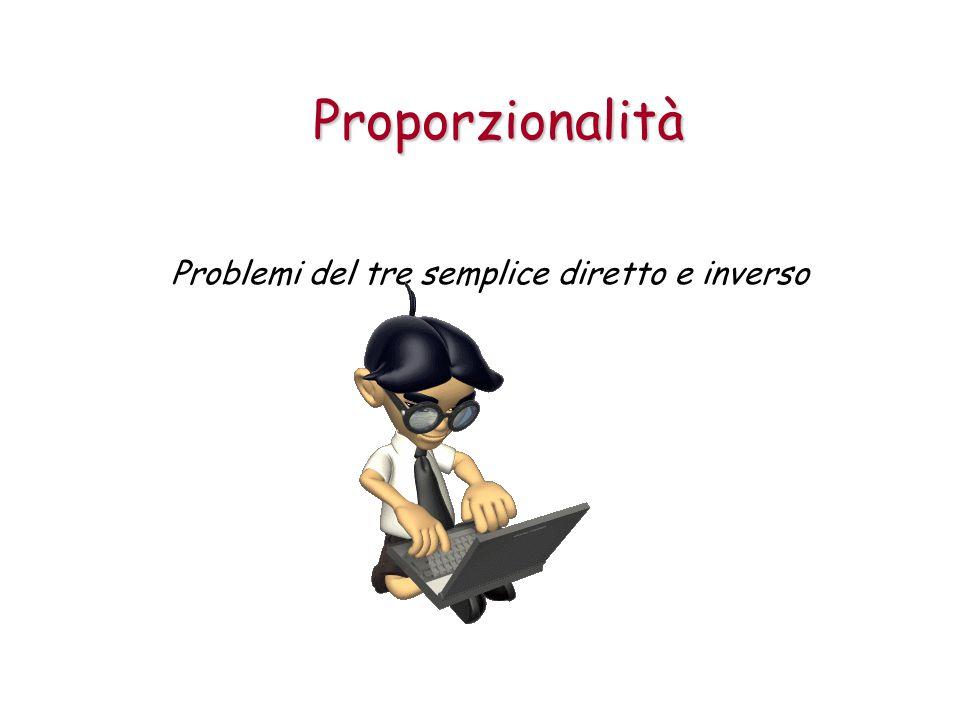 Proporzionalità Problemi del tre semplice diretto e inverso