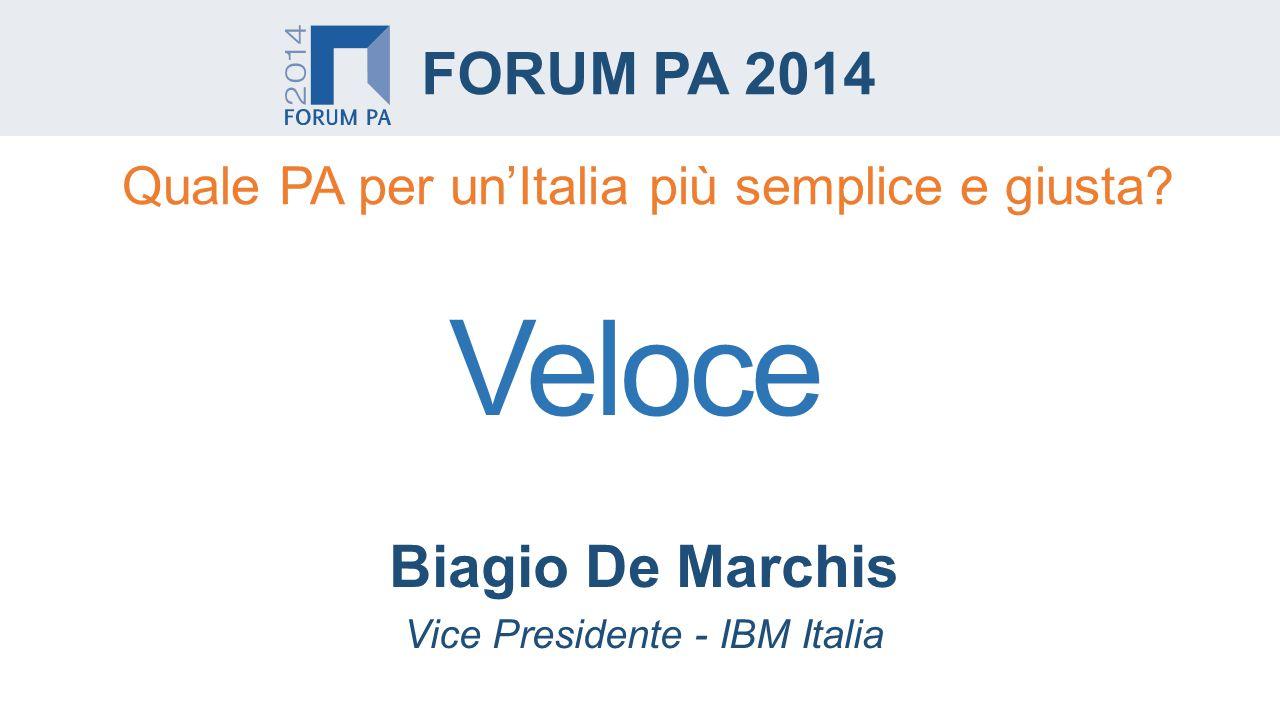 Biagio De Marchis Vice Presidente - IBM Italia FORUM PA 2014 Quale PA per un'Italia più semplice e giusta.