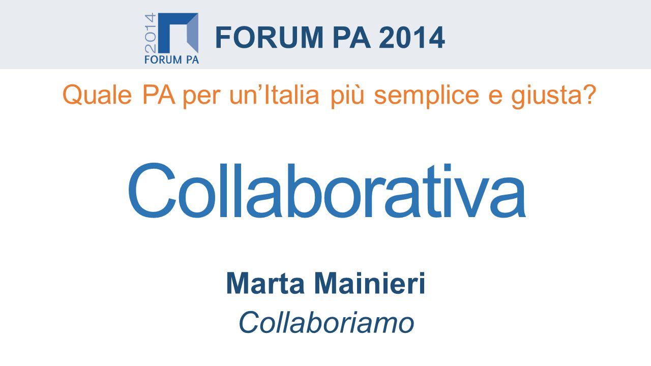 Marta Mainieri Collaboriamo FORUM PA 2014 Collaborativa Quale PA per un'Italia più semplice e giusta
