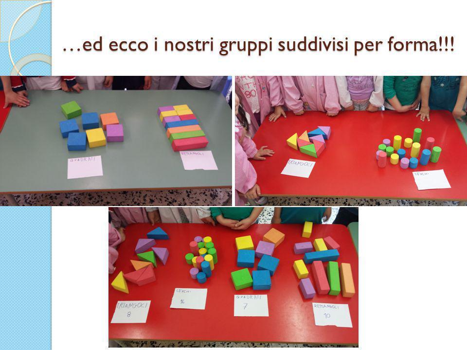 …ed ecco i nostri gruppi suddivisi per forma!!!