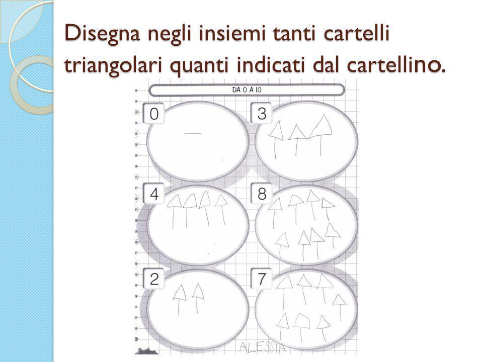 Disegna negli insiemi tanti cartelli triangolari quanti indicati dal cartelli no.