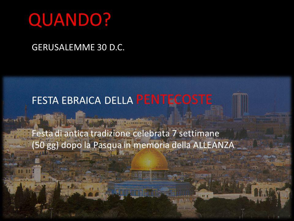 GERUSALEMME 30 D.C. FESTA EBRAICA DELLA PENTECOSTE Festa di antica tradizione celebrata 7 settimane (50 gg) dopo la Pasqua in memoria della ALLEANZA Q