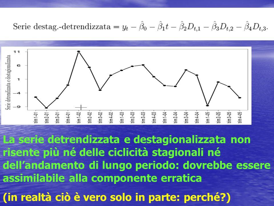 La serie detrendizzata e destagionalizzata non risente più né delle ciclicità stagionali né dell'andamento di lungo periodo: dovrebbe essere assimilabile alla componente erratica (in realtà ciò è vero solo in parte: perché?)