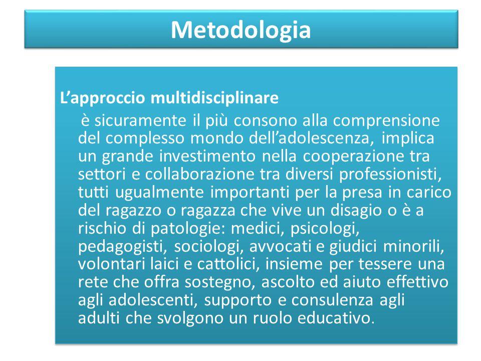 Metodologia L'approccio multidisciplinare è sicuramente il più consono alla comprensione del complesso mondo dell'adolescenza, implica un grande inves