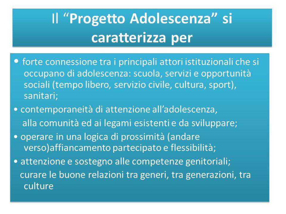 """Il """"Progetto Adolescenza"""" si caratterizza per forte connessione tra i principali attori istituzionali che si occupano di adolescenza: scuola, servizi"""