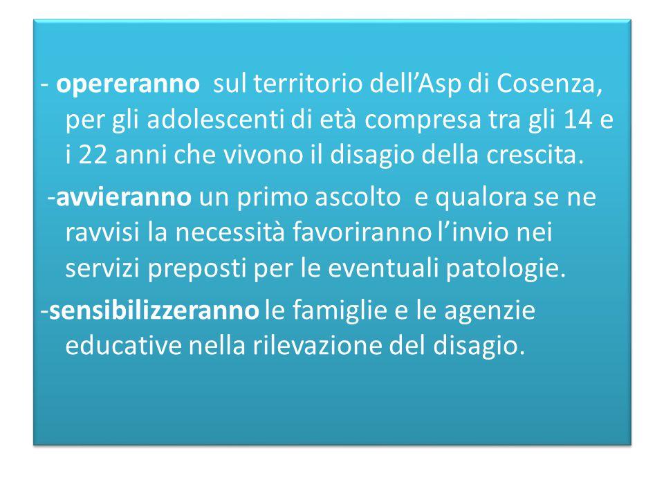 - opereranno sul territorio dell'Asp di Cosenza, per gli adolescenti di età compresa tra gli 14 e i 22 anni che vivono il disagio della crescita. -avv