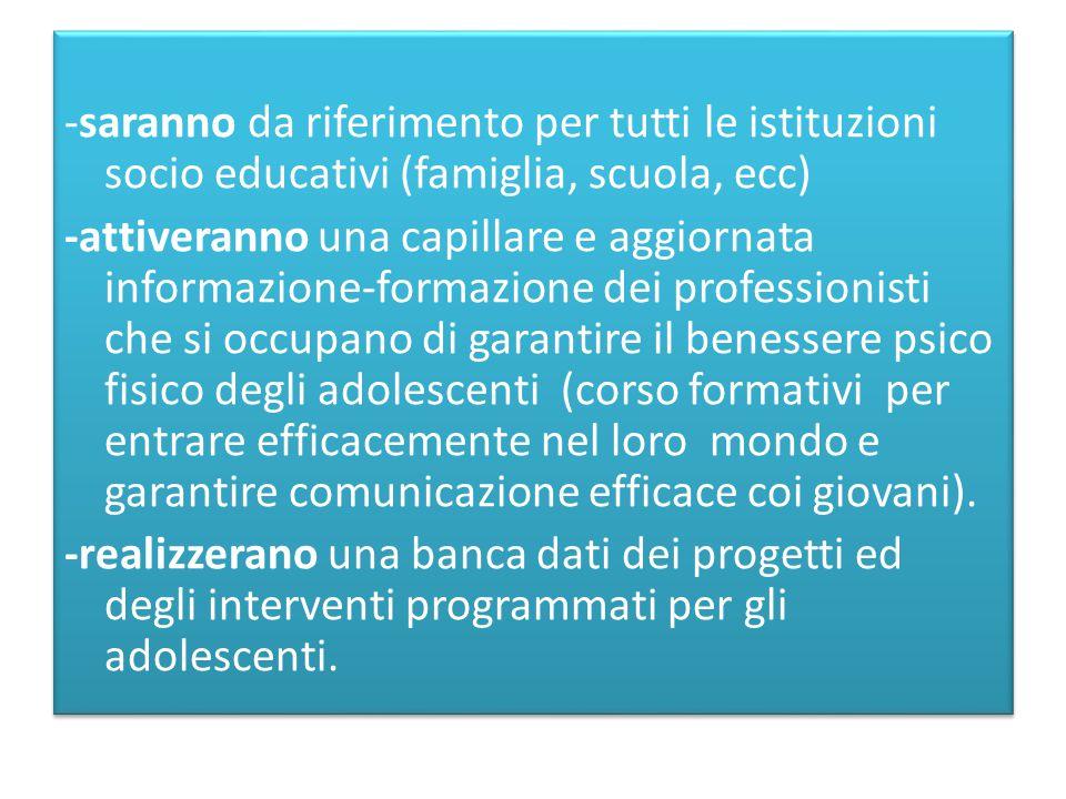 -saranno da riferimento per tutti le istituzioni socio educativi (famiglia, scuola, ecc) -attiveranno una capillare e aggiornata informazione-formazio