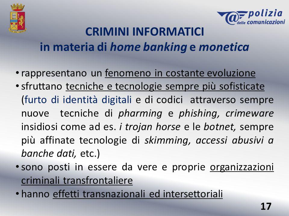 CRIMINI INFORMATICI in materia di home banking e monetica rappresentano un fenomeno in costante evoluzione sfruttano tecniche e tecnologie sempre più