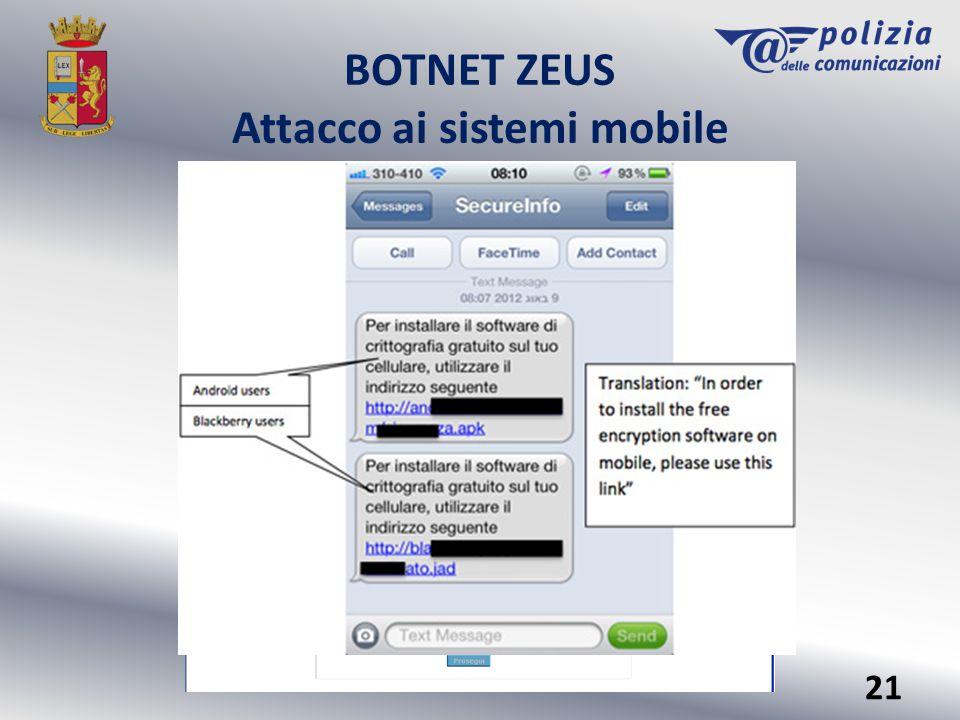 BOTNET ZEUS Attacco ai sistemi mobile 21