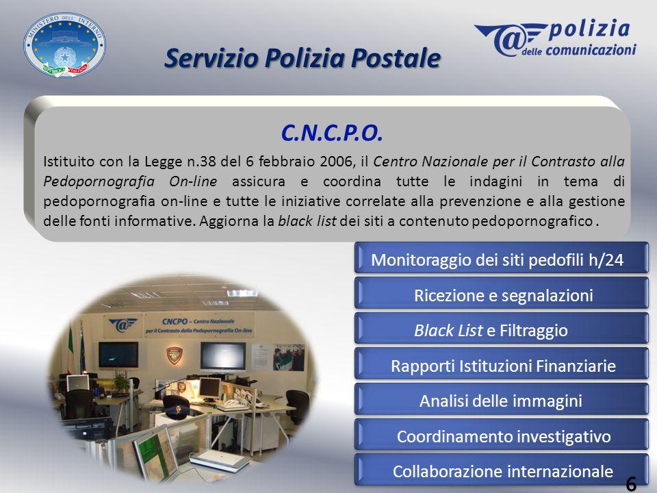 Servizio Polizia Postale C.N.C.P.O. Istituito con la Legge n.38 del 6 febbraio 2006, il Centro Nazionale per il Contrasto alla Pedopornografia On-line