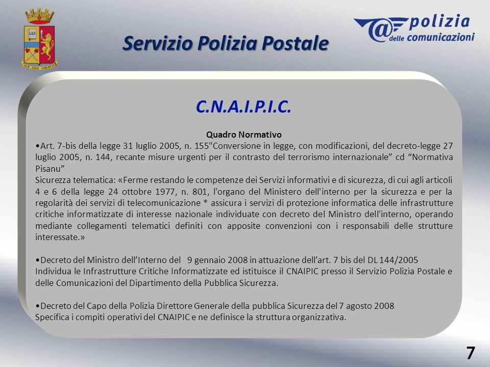 Servizio Polizia Postale C.N.A.I.P.I.C. Quadro Normativo Art. 7-bis della legge 31 luglio 2005, n. 155
