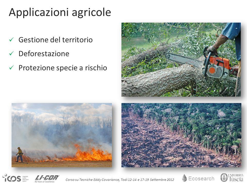 Ecosearch Corso su Tecniche Eddy Covariance, Todi 12-14 e 17-19 Settembre 2012 Applicazioni agricole Gestione del territorio Deforestazione Protezione specie a rischio