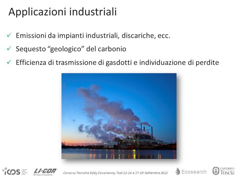 Ecosearch Corso su Tecniche Eddy Covariance, Todi 12-14 e 17-19 Settembre 2012 Applicazioni industriali Emissioni da impianti industriali, discariche, ecc.