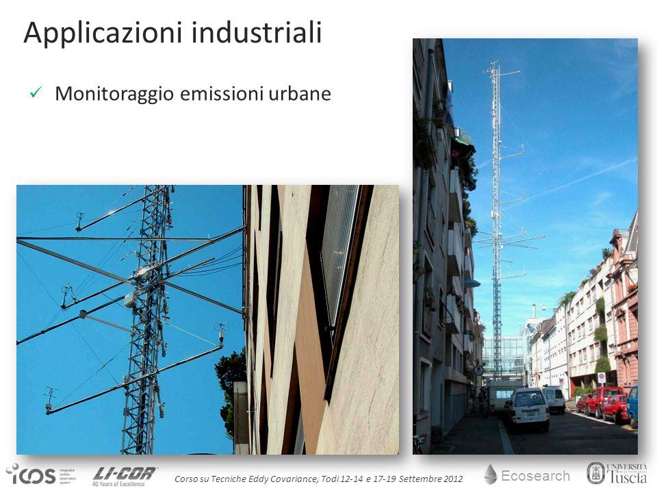 Ecosearch Corso su Tecniche Eddy Covariance, Todi 12-14 e 17-19 Settembre 2012 Applicazioni industriali Monitoraggio emissioni urbane
