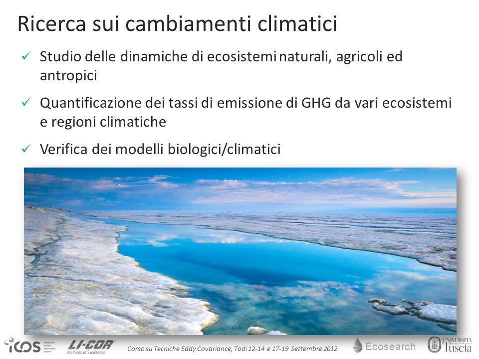 Ecosearch Corso su Tecniche Eddy Covariance, Todi 12-14 e 17-19 Settembre 2012 Studio delle dinamiche di ecosistemi naturali, agricoli ed antropici Quantificazione dei tassi di emissione di GHG da vari ecosistemi e regioni climatiche Verifica dei modelli biologici/climatici Ricerca sui cambiamenti climatici