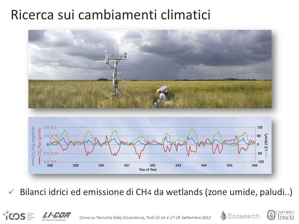 Ecosearch Corso su Tecniche Eddy Covariance, Todi 12-14 e 17-19 Settembre 2012 Bilanci idrici ed emissione di CH 4 da wetlands (zone umide, paludi..) Ricerca sui cambiamenti climatici