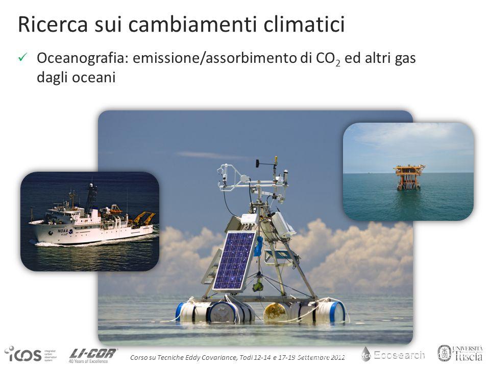 Ecosearch Corso su Tecniche Eddy Covariance, Todi 12-14 e 17-19 Settembre 2012 Courtesy of Hamish McGowan, University of Queensland Ricerca sui cambiamenti climatici Oceanografia: emissione/assorbimento di CO 2 ed altri gas dagli oceani