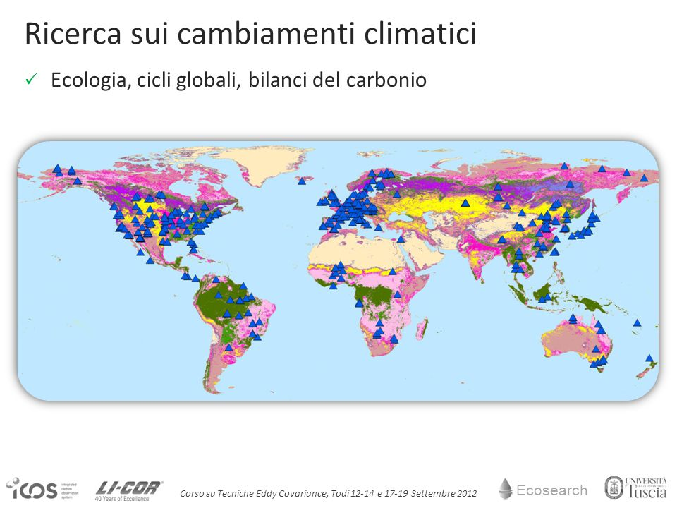 Ecosearch Corso su Tecniche Eddy Covariance, Todi 12-14 e 17-19 Settembre 2012 Ricerca sui cambiamenti climatici Ecologia, cicli globali, bilanci del carbonio