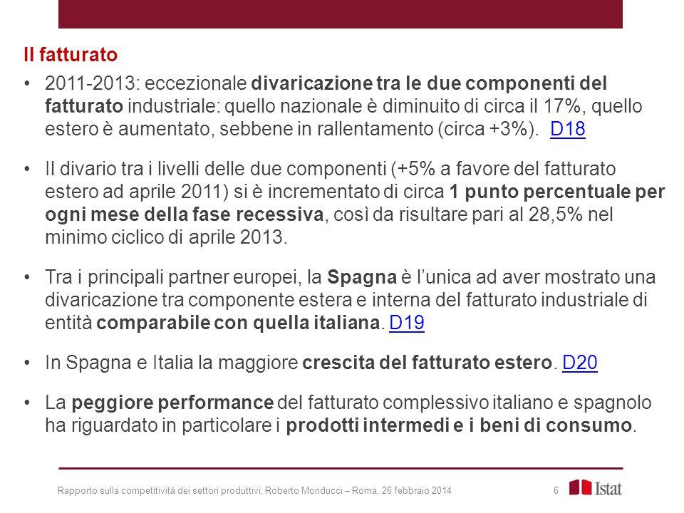 Rapporto sulla competitività dei settori produttivi, Roberto Monducci – Roma, 26 febbraio 2014 17 Italia - Quota di settori con la produzione industriale in espansione