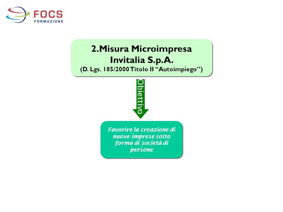 "2.Misura Microimpresa Invitalia S.p.A. (D. Lgs. 185/2000 Titolo II ""Autoimpiego"") 2.Misura Microimpresa Invitalia S.p.A. (D. Lgs. 185/2000 Titolo II """