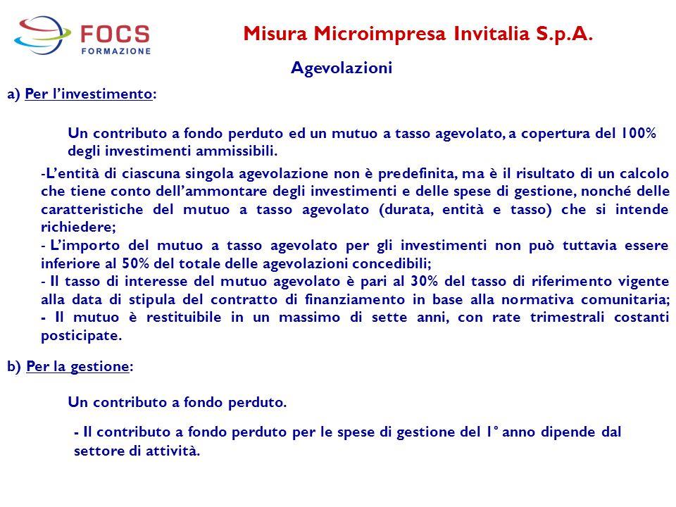 Misura Microimpresa Invitalia S.p.A. Agevolazioni a) Per l'investimento: Un contributo a fondo perduto ed un mutuo a tasso agevolato, a copertura del