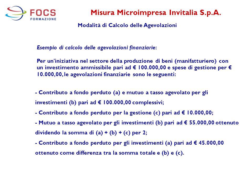 Misura Microimpresa Invitalia S.p.A. Modalità di Calcolo delle Agevolazioni - Contributo a fondo perduto (a) e mutuo a tasso agevolato per gli investi