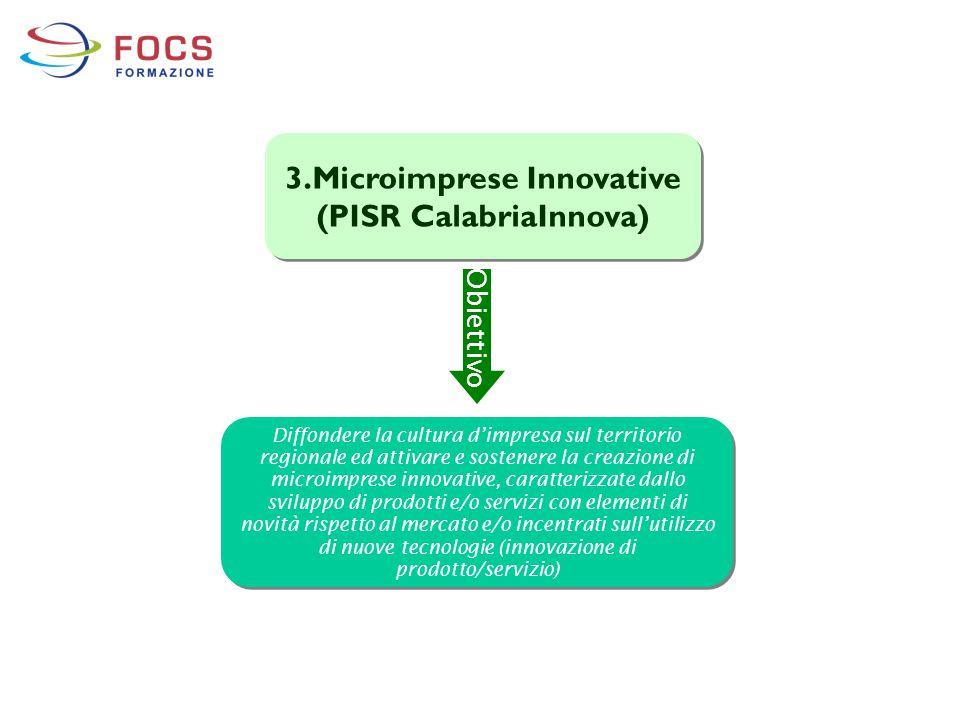 3.Microimprese Innovative (PISR CalabriaInnova) Diffondere la cultura d'impresa sul territorio regionale ed attivare e sostenere la creazione di micro