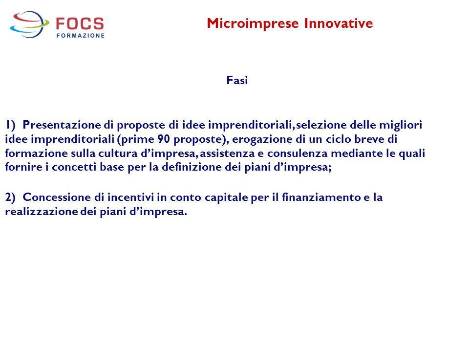 Microimprese Innovative Fasi 1) Presentazione di proposte di idee imprenditoriali, selezione delle migliori idee imprenditoriali (prime 90 proposte),