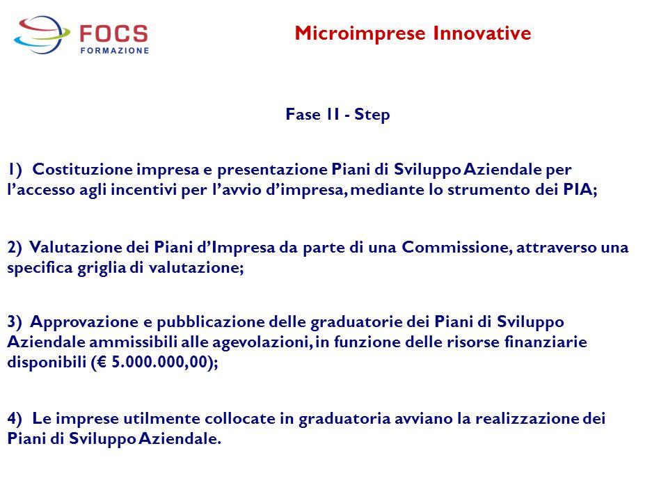 Microimprese Innovative Fase 1I - Step 1) Costituzione impresa e presentazione Piani di Sviluppo Aziendale per l'accesso agli incentivi per l'avvio d'