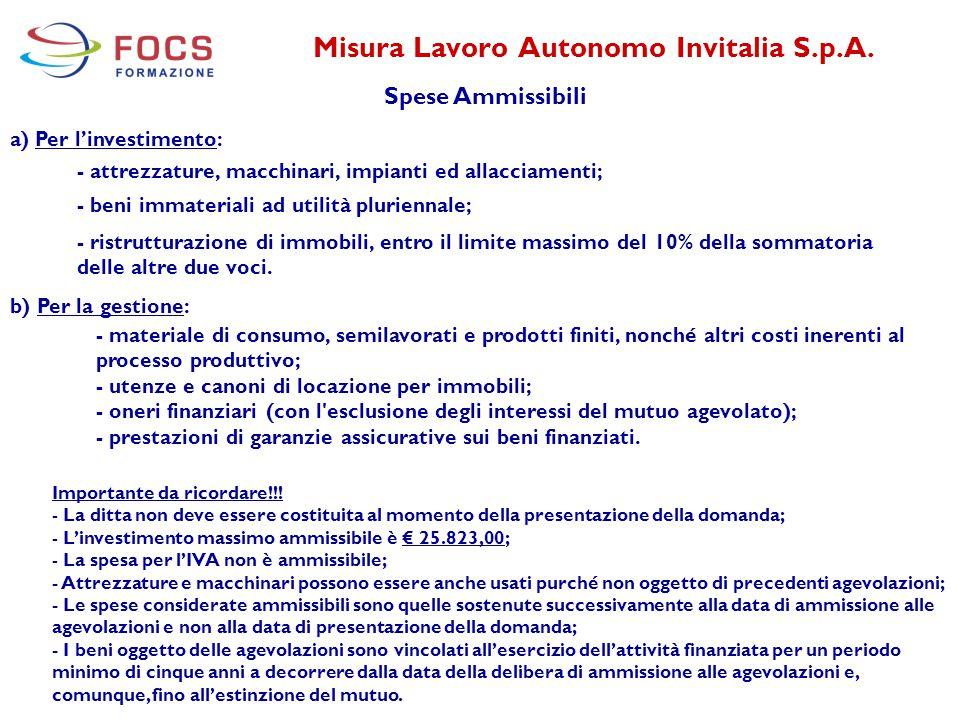 Misura Lavoro Autonomo Invitalia S.p.A. Spese Ammissibili a) Per l'investimento: - attrezzature, macchinari, impianti ed allacciamenti; b) Per la gest