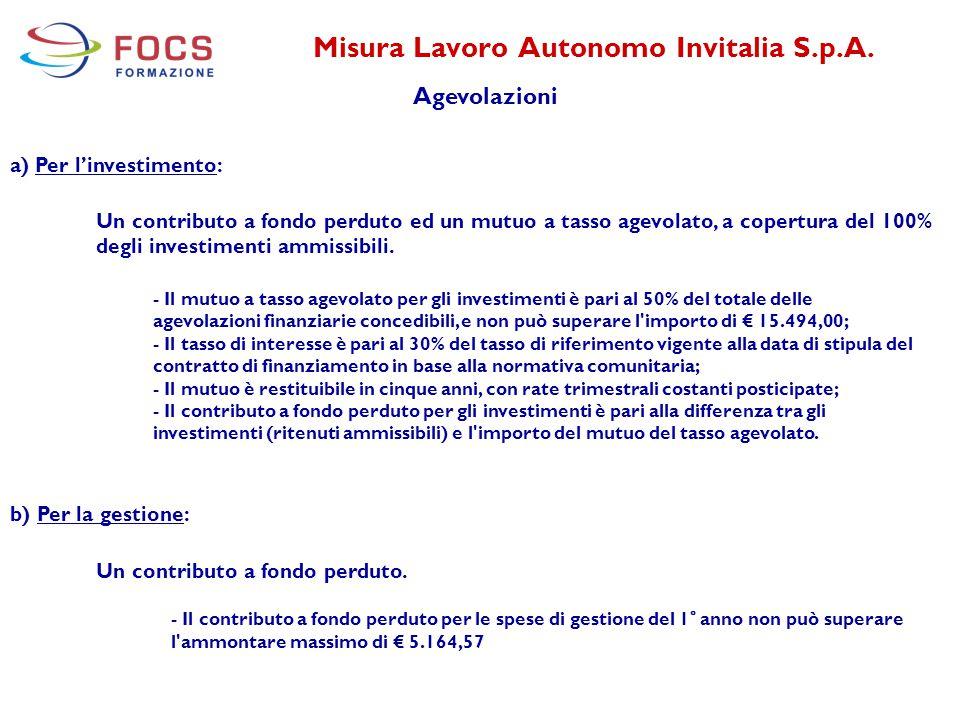 Misura Lavoro Autonomo Invitalia S.p.A. Agevolazioni a) Per l'investimento: Un contributo a fondo perduto ed un mutuo a tasso agevolato, a copertura d