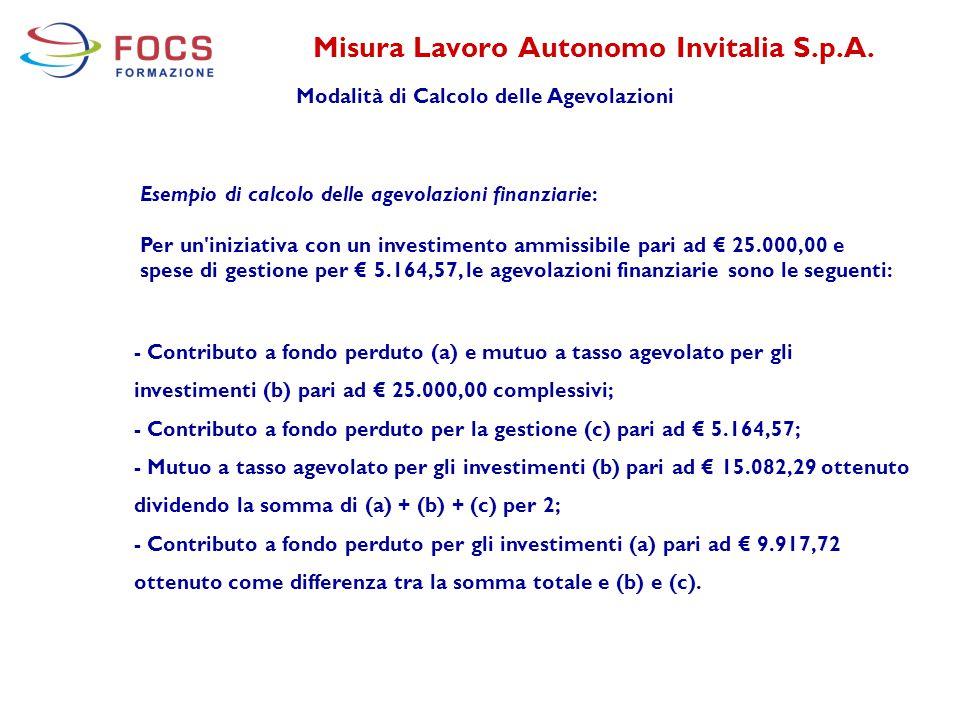 Misura Lavoro Autonomo Invitalia S.p.A. Modalità di Calcolo delle Agevolazioni - Contributo a fondo perduto (a) e mutuo a tasso agevolato per gli inve