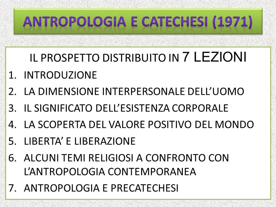 INTRODUZIONE Prerequisiti essenziali: – la Chiesa deve entrare in dialogo con la cultura umana (presa di coscienza operata dalla GS) – Applicare una critica alle concezioni (linguaggi, modelli) e alle prassi catechistici – Rendere operabile la catechesi con l'antropologia (filosofica!) attraverso tre funzioni: a) critica e purificatrice; b) costruttiva; c) metodologica – È indispensabile l'aggiornamento antropologico