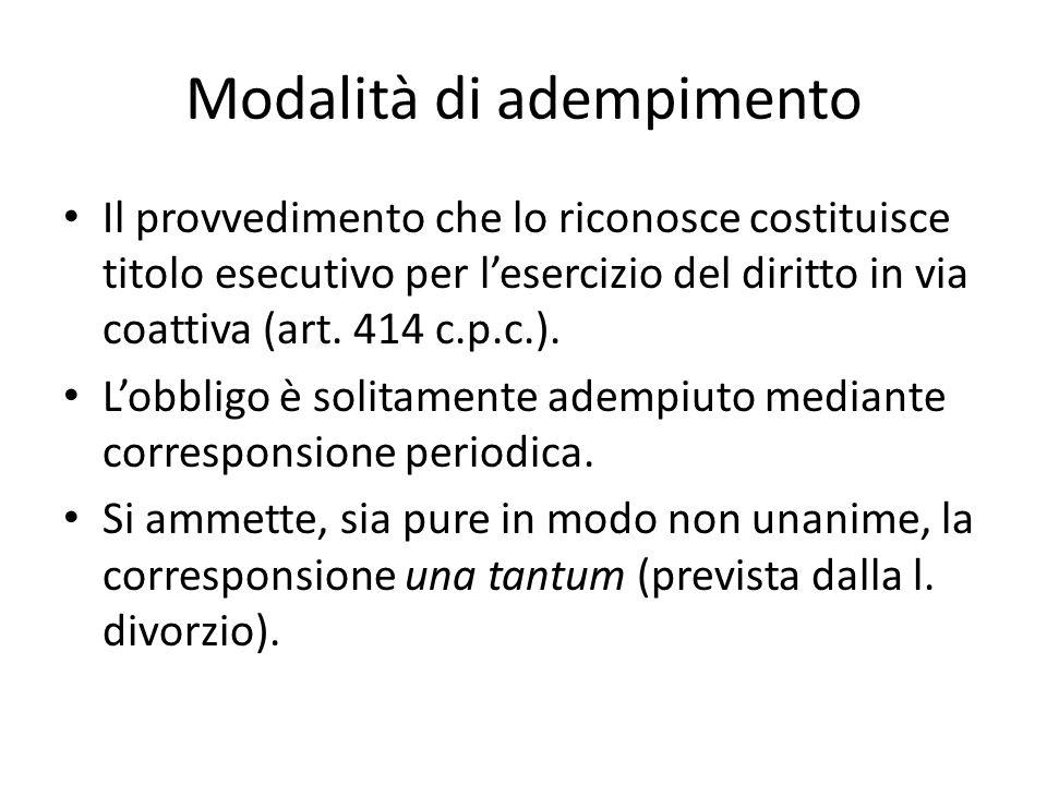 Modalità di adempimento Il provvedimento che lo riconosce costituisce titolo esecutivo per l'esercizio del diritto in via coattiva (art. 414 c.p.c.).