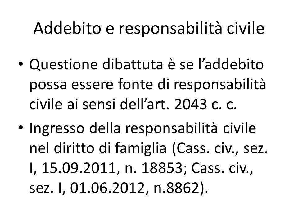 Addebito e responsabilità civile Questione dibattuta è se l'addebito possa essere fonte di responsabilità civile ai sensi dell'art.