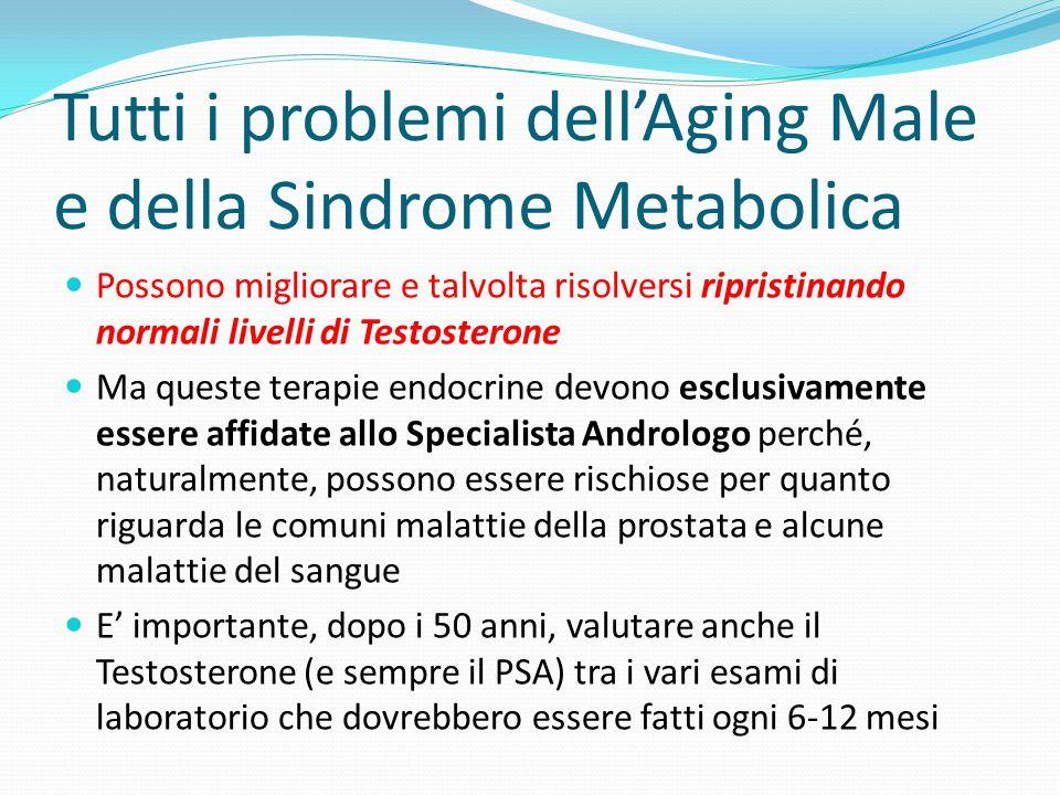 Tutti i problemi dell'Aging Male e della Sindrome Metabolica Possono migliorare e talvolta risolversi ripristinando normali livelli di Testosterone Ma
