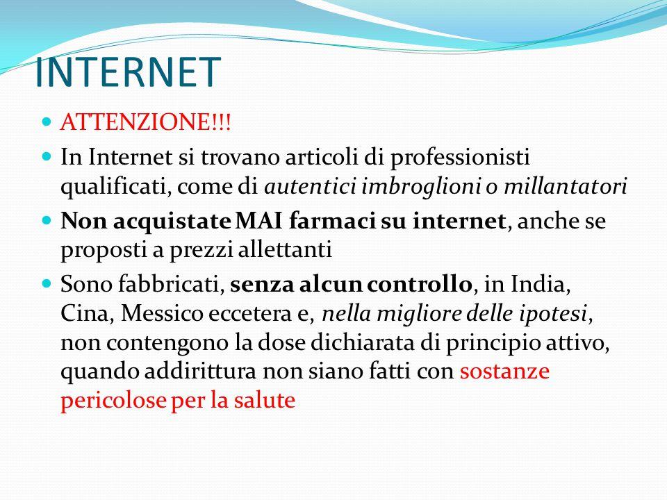 INTERNET ATTENZIONE!!! In Internet si trovano articoli di professionisti qualificati, come di autentici imbroglioni o millantatori Non acquistate MAI