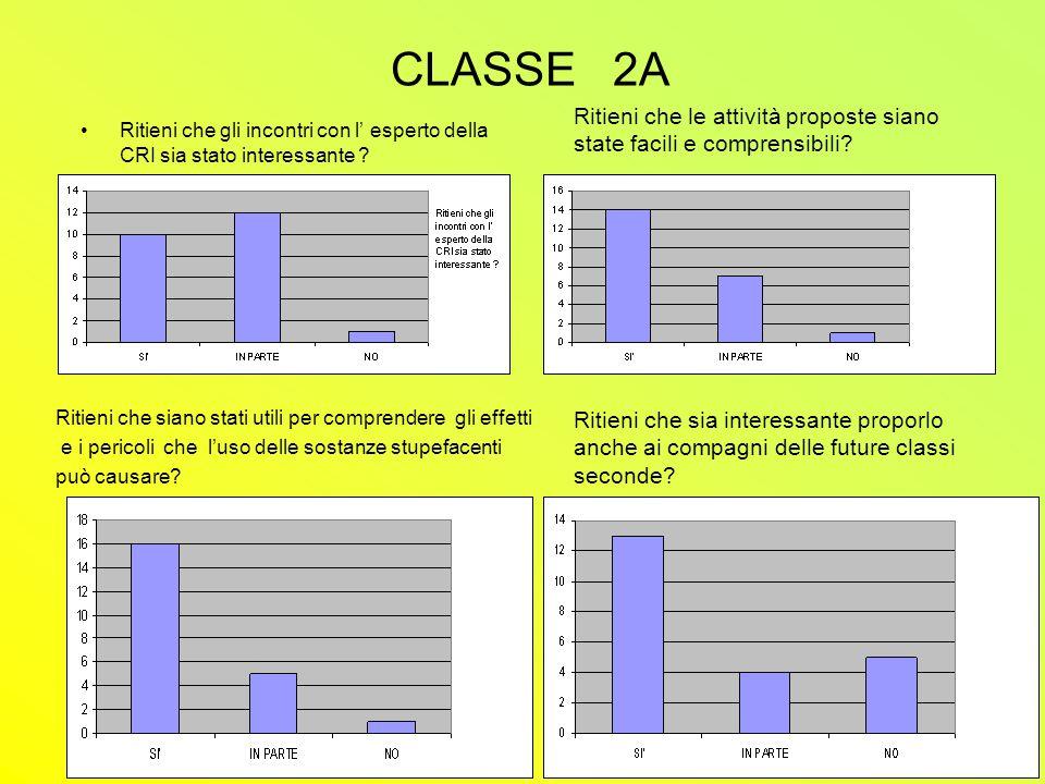 CLASSE 2A Ritieni che gli incontri con l' esperto della CRI sia stato interessante .