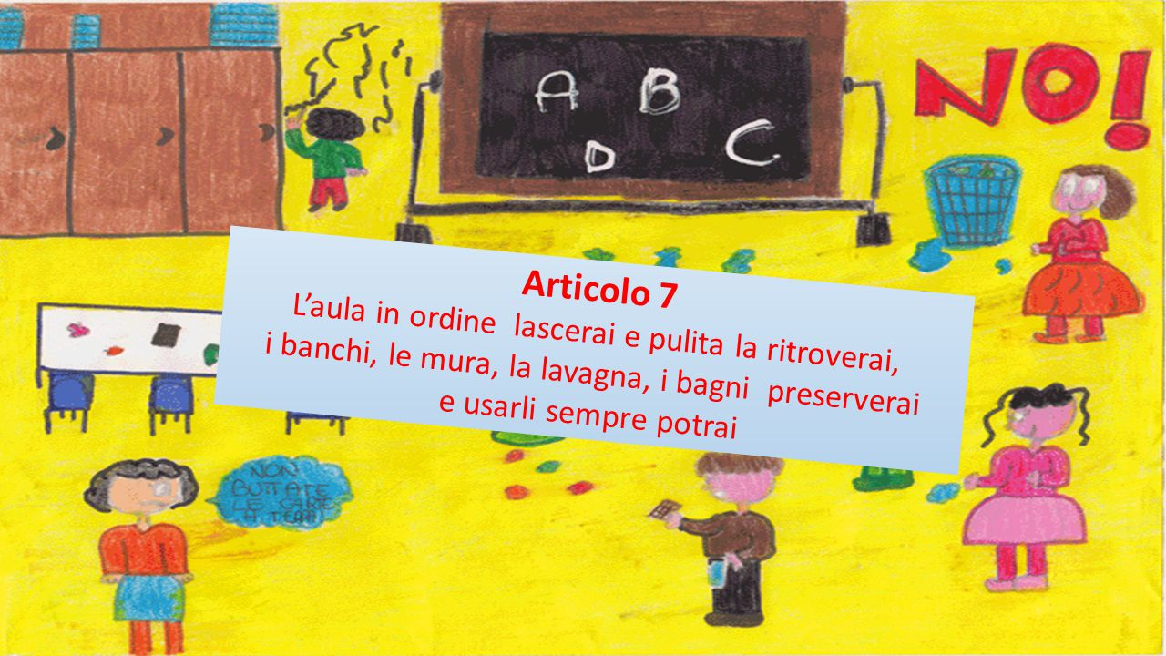 Articolo 7 L'aula in ordine lascerai e pulita la ritroverai, i banchi, le mura, la lavagna, i bagni preserverai e usarli sempre potrai