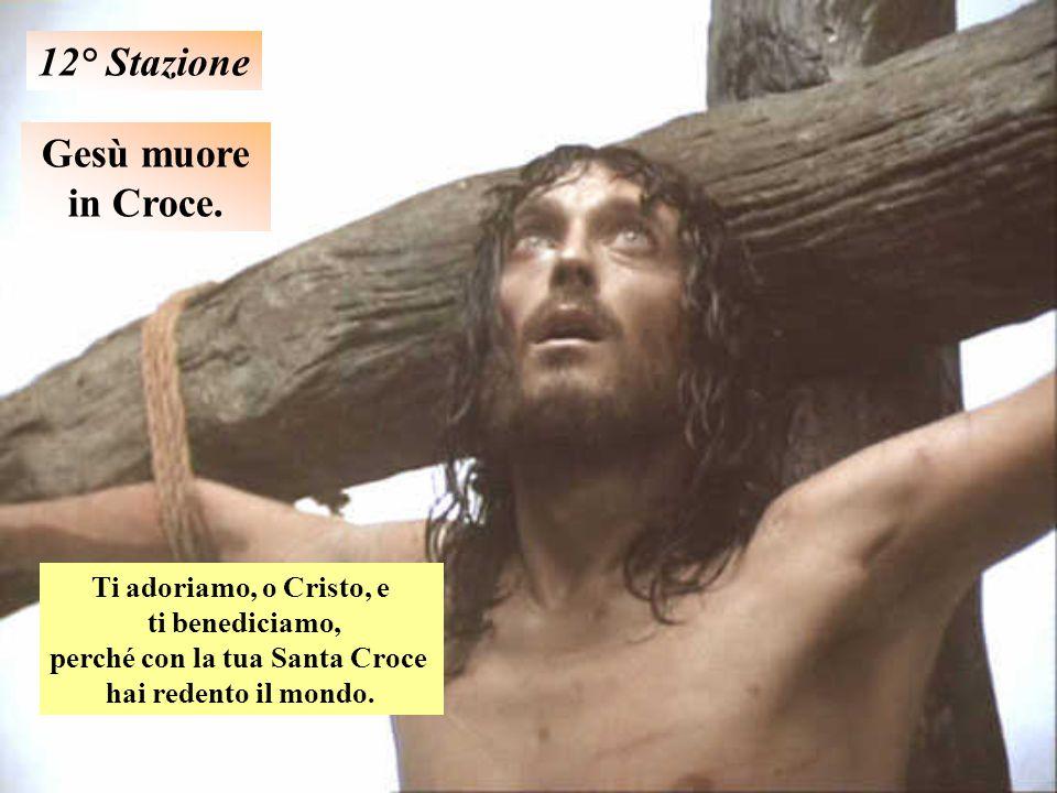 Gesù muore in Croce. 12° Stazione Ti adoriamo, o Cristo, e ti benediciamo, perché con la tua Santa Croce hai redento il mondo.
