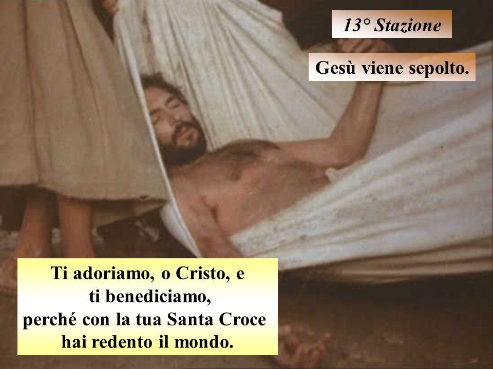 Gesù viene sepolto. 13° Stazione Ti adoriamo, o Cristo, e ti benediciamo, perché con la tua Santa Croce hai redento il mondo.