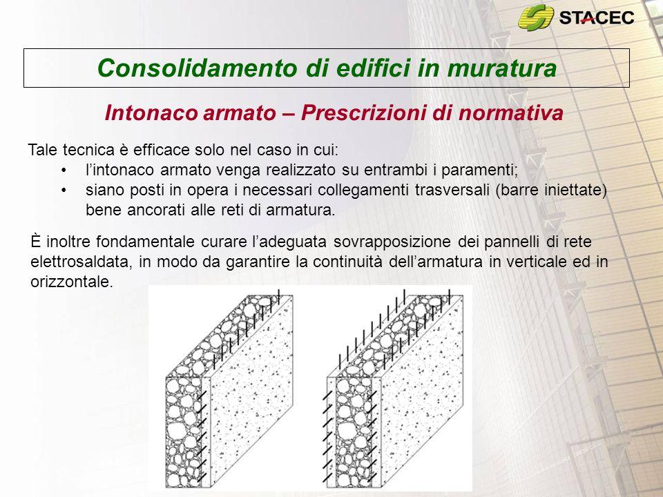 Consolidamento di edifici in muratura Intonaco armato – Prescrizioni di normativa Tale tecnica è efficace solo nel caso in cui: l'intonaco armato veng
