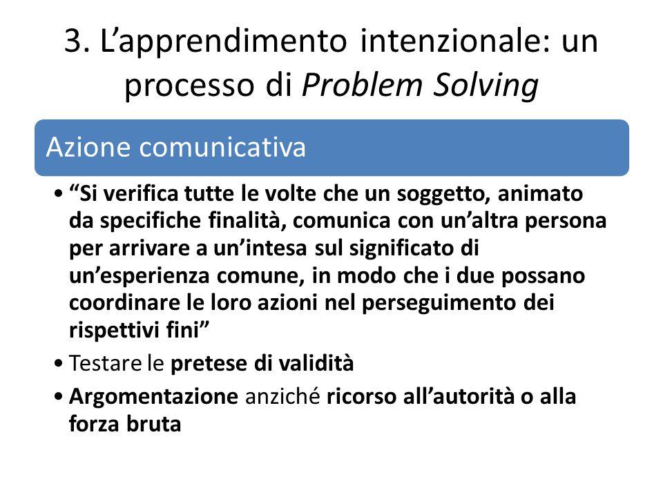 """3. L'apprendimento intenzionale: un processo di Problem Solving Azione comunicativa """"Si verifica tutte le volte che un soggetto, animato da specifiche"""