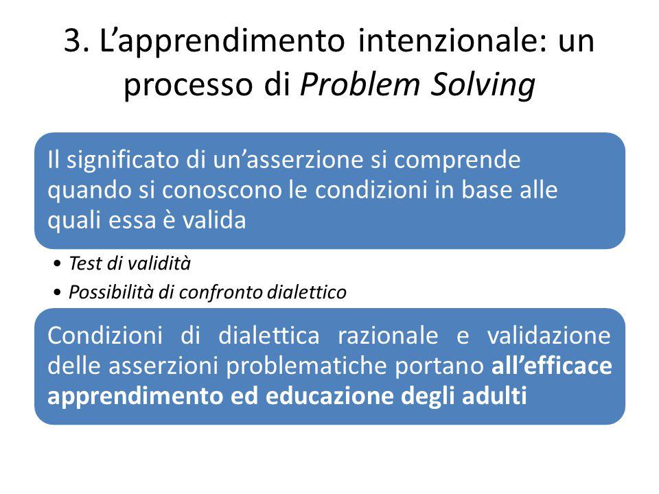 3. L'apprendimento intenzionale: un processo di Problem Solving Il significato di un'asserzione si comprende quando si conoscono le condizioni in base
