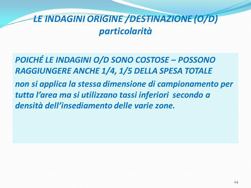 LE INDAGINI ORIGINE /DESTINAZIONE (O/D) particolarità POICHÉ LE INDAGINI O/D SONO COSTOSE – POSSONO RAGGIUNGERE ANCHE 1/4, 1/5 DELLA SPESA TOTALE non